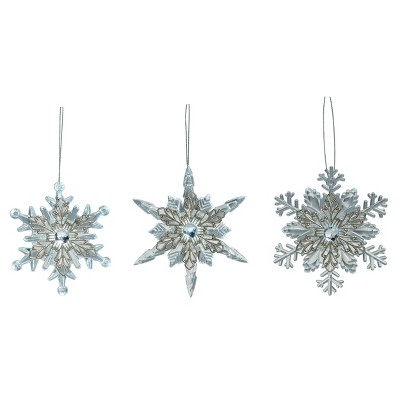 Transpac Artificial 4 in. Silver Christmas Light Up Snowflake Ornament Set of 3
