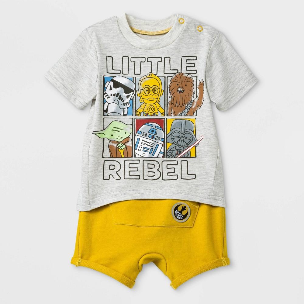 Baby Boys' 2pc Star Wars T-Shirt and Shorts Set - Yellow 3-6M