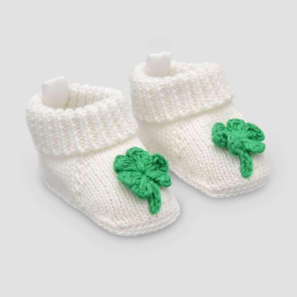 Image of Baby Shamrock Slipper Nb - Just One You made by carter's White Newborn, Kids Unisex, White Green