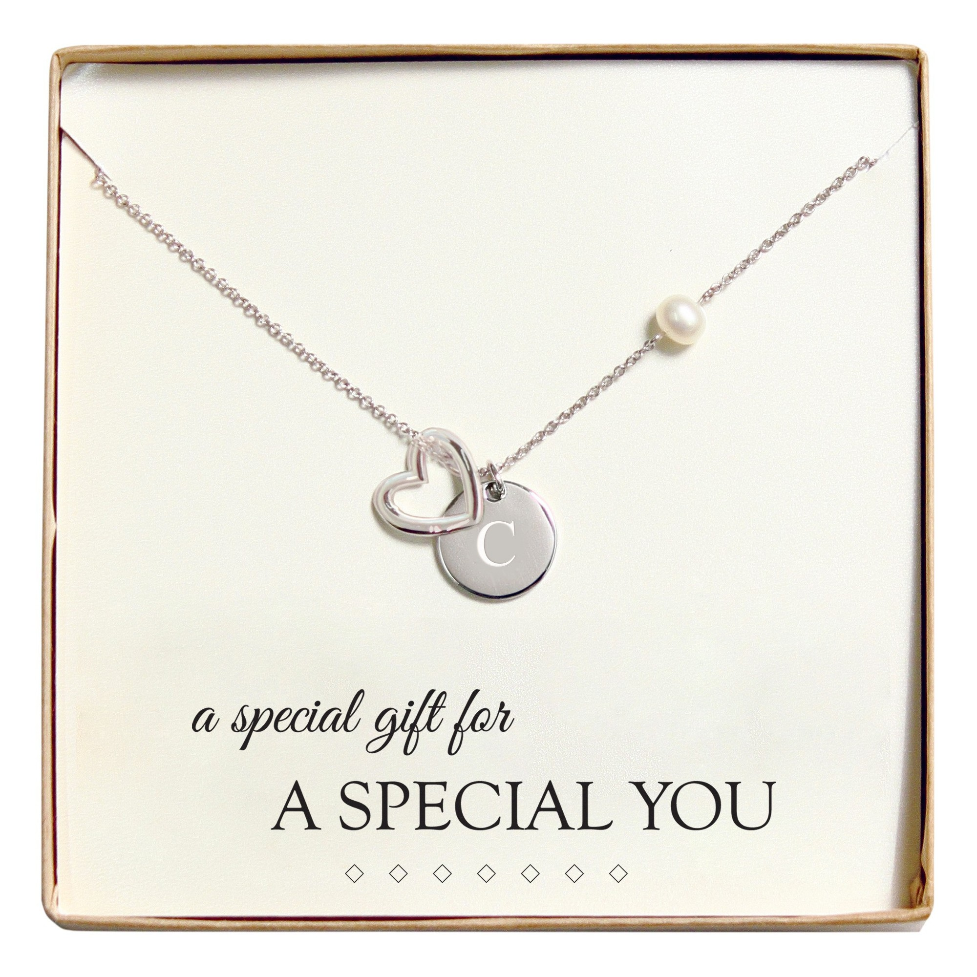 Monogram Special You Open Heart Charm Party Necklace - C, Women's, Silver