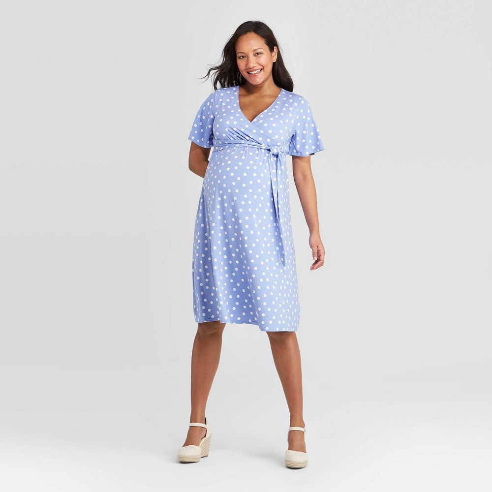 Polka Dot Short Sleeve Knit Wrap Maternity Dress Isabel Maternity By Ingrid 38 Isabel 8482 Blue L