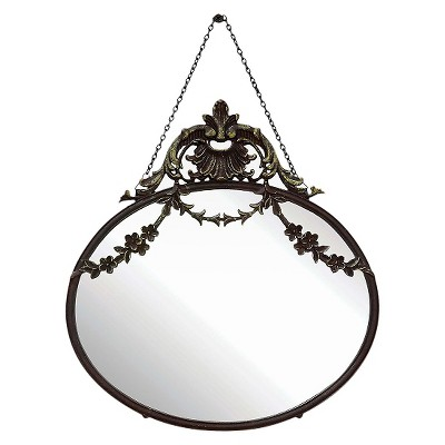"10.5"" x 13.5"" Antique Inspired Hanging Oval Mirror with Pewter Frame Rust - 3R Studios"