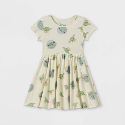Toddler Girls' Star Wars Baby Yoda Short Sleeve Jersey Knit Dress - Cream