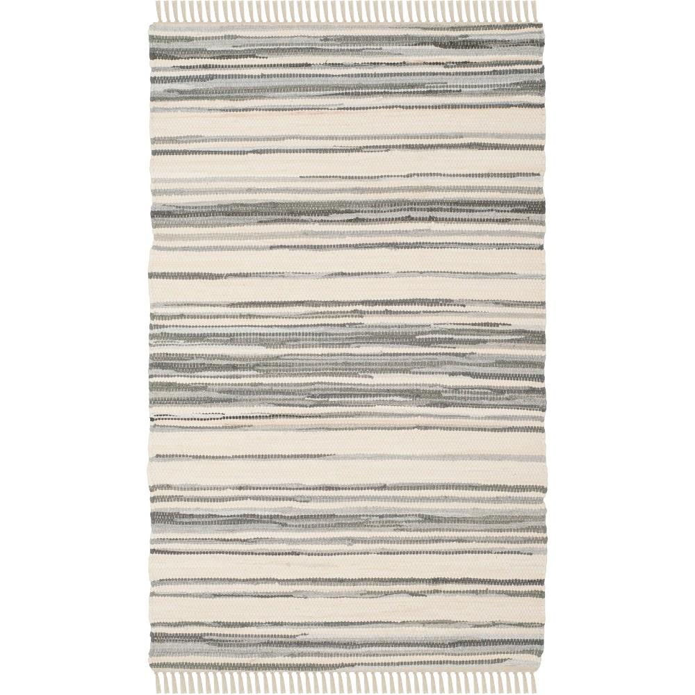 6'X9' Stripe Woven Area Rug Ivory/Gray - Safavieh