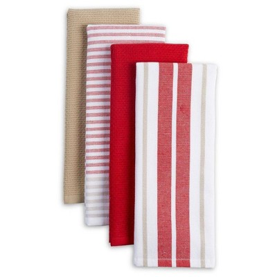 4pk Bistro Kitchen Towels Beige/Red/White - Town & Country Living
