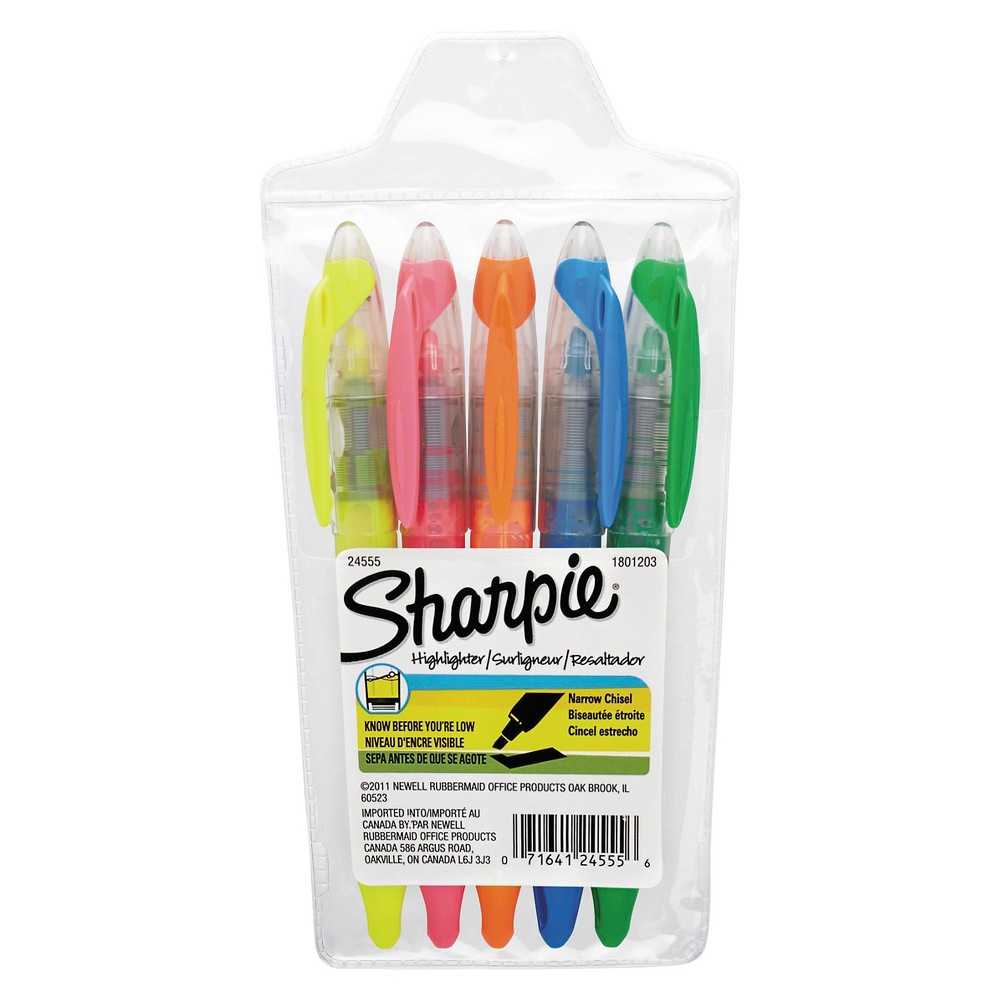 Sharpie Accent Liquid Pen Style Highlighter, Chisel Tip, 5 ct - Assorted, Multi-Colored
