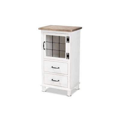Faron Finished Wood 2 Drawer Storage Cabinet White/Oak Brown - Baxton Studio