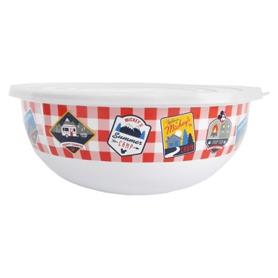 Mickey Mouse & Friends Mickey Mouse Stainless Steel Serving Bowl With Lid 128oz - White/Red