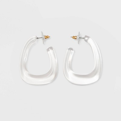 Sugarfix By Bauble Bar Modern Clear Acrylic Hoop Earrings by Sugarfix By Bauble Bar