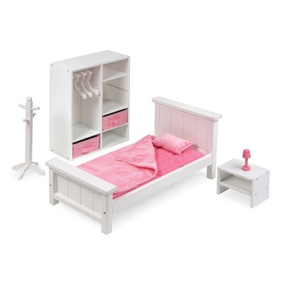 "Bedroom Furniture Set for 18"" Dolls - White/Pink"