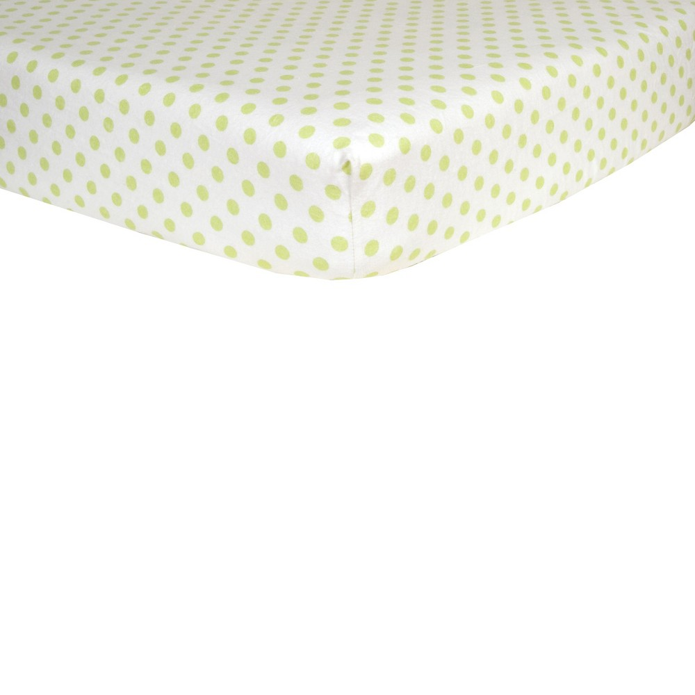 Green & White Dot Flannel Fitted Crib sheet, Sage & White