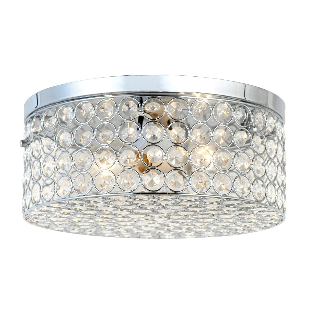 "Image of ""12"""" Elipse Round Crystal Flush Mount Ceiling Light Chrome - Elegant Designs"""