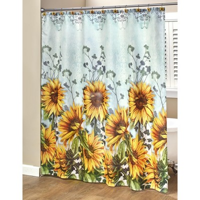 Lakeside Sunflower Bathroom Shower Curtain with Floral Farmhouse Accents