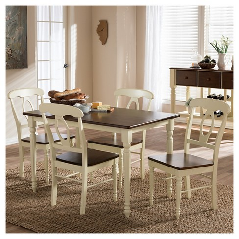 Napoleon French Country Cottage Ermilk Cherry Brown Finishing Wood 5 Piece Dining Set Baxton Studio Target