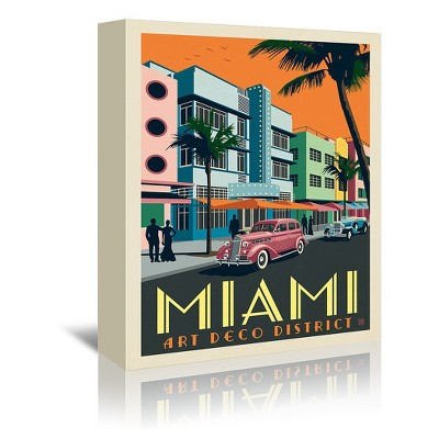 Americanflat Usa Miami Art Deco District by Anderson Design Group Wrapped Canvas