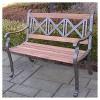 Triple Cross Metal/Wood Patio Bench - image 2 of 3