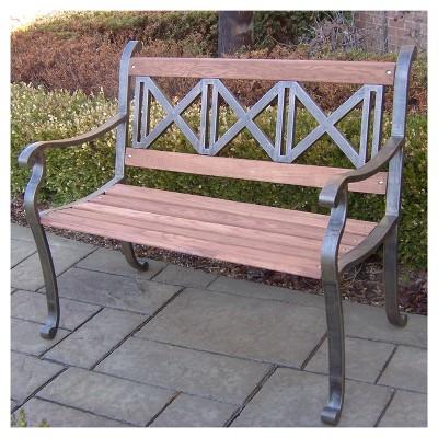 Superieur Triple Cross Metal/Wood Patio Bench : Target