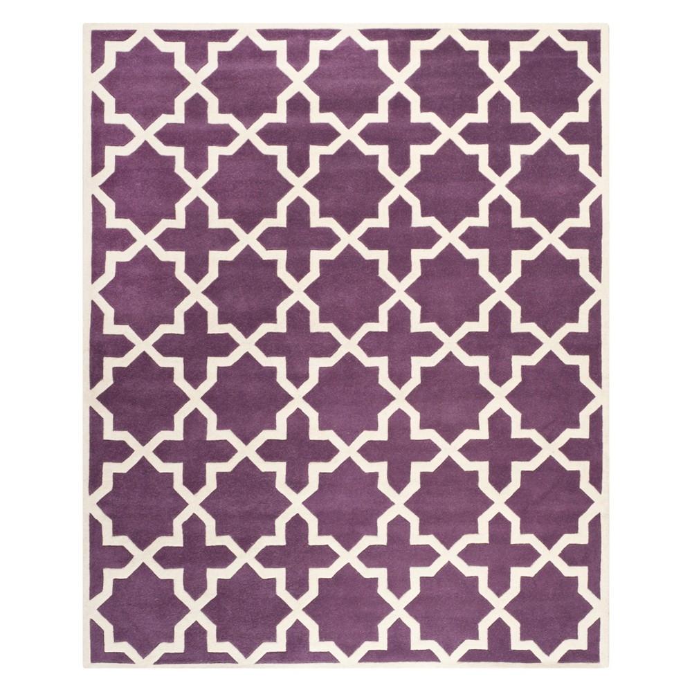 8'X10' Quatrefoil Design Tufted Area Rug Purple/Ivory - Safavieh
