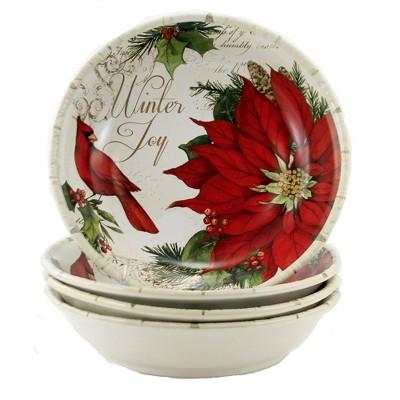 "Tabletop 9.25"" Winters Garden Soup Pasta St/4 Cardinal Poinsettia Certified International  -  Serving Bowls"