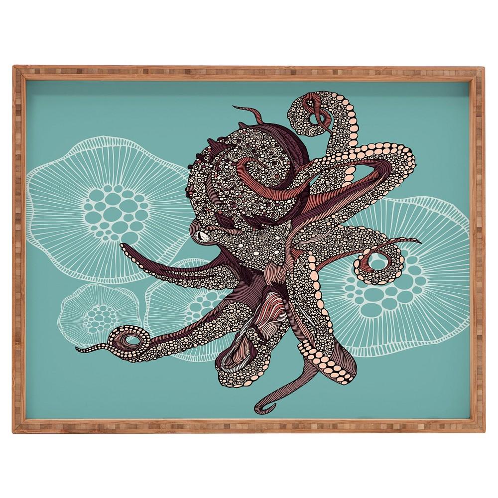 Valentina Ramos Octopus Bloom Rectangle Tray Blue Deny Designs