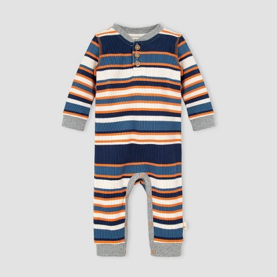 Burt's Bees Baby® Baby Boys' Organic Cotton Striped Thermal Henley Jumpsuit - Navy 9M