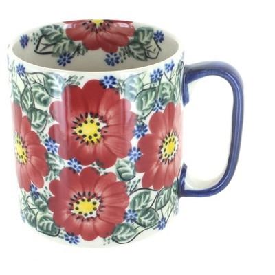 Blue Rose Polish Pottery Crimson Brocade Coffee Mug