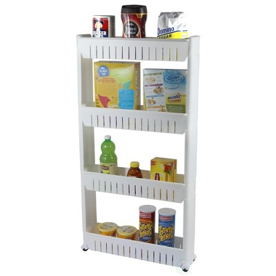 Basicwise Slim Storage Cabinet Organizer 4 Shelf Rolling Pull Out Cart Rack Tower with Wheels