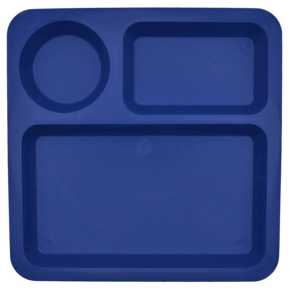 "Big Kid's Square Divided Plate Plastic 10.5""x10.5"" Blue Delta - Pillowfort"