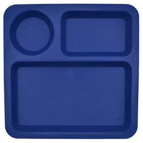 "Big Kid's Square Divided Plate Plastic 10.5""x10.5"" Blue Delta - Pillowfort™ - image 1 of 1"