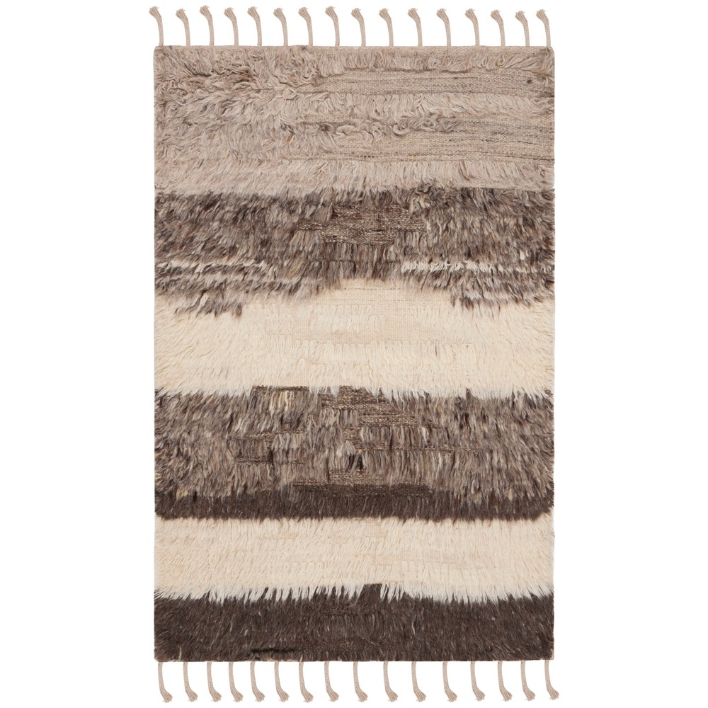 3X5 Stripe Knotted Accent Rug Ivory/Gray - Safavieh Price