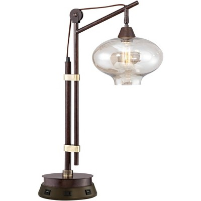Franklin Iron Works Industrial Desk Table Lamp with USB and AC Power Outlet Workstation Charging Base Bronze Cognac Glass Office