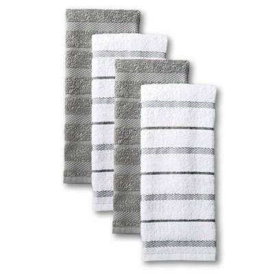 """KitchenAid 4pk 16""""X26"""" Albany Strpe Kitchen Towels Gray/White"""