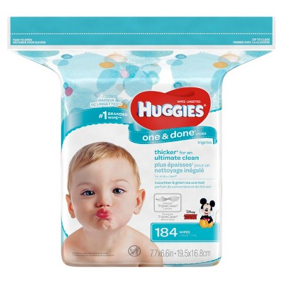Huggies One & Done Baby Wipes Cucumber/Green Tea - 184ct
