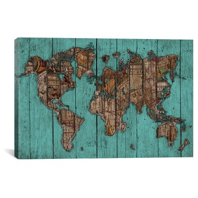 Wood Map #2 by Diego Tirigall Canvas Print (12 x 18 )