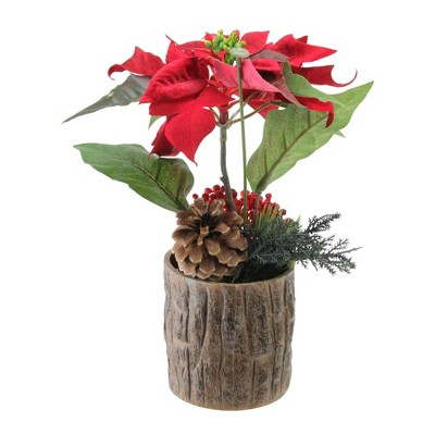 """Northlight 10"""" Artificial Poinsettia with Pine Cone and Berries Decorative Potted Plant"""