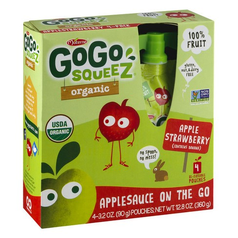 GoGo Squeez® Organic Apple Strawberry On-the-Go Pouch - 3.2oz 4pk - image 1 of 1