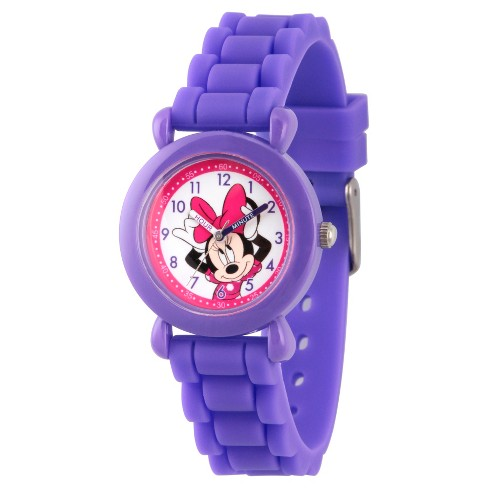 Girls' Disney Minnie Mouse Purple Plastic Time Teacher Watch - Purple - image 1 of 1