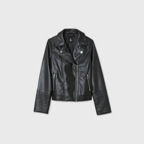 Girls' Faux Leather Moto Jacket - art class™ Black - image 1 of 2