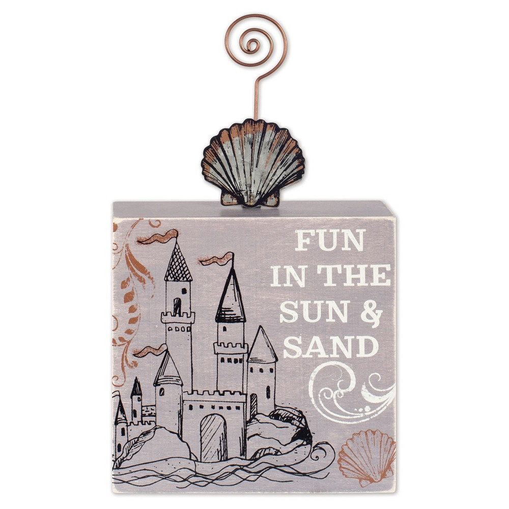 12 Outdoor Metal / Wood Sand Castle Photo Holder - Multi Color - Sunset Vista Designs, Multi-Colored