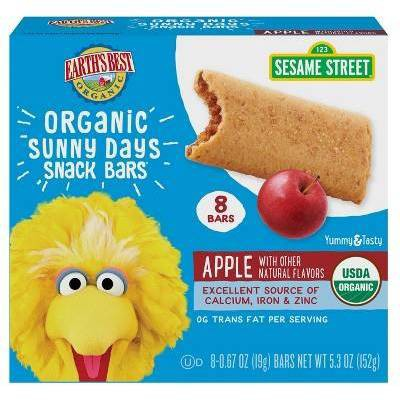 Earth's Best Organic Sunny Day Toddler Snack Bars with Cereal Crust Made with Real Apples - 8ct