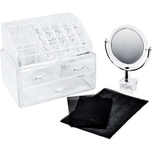Sorbus Makeup Storage Organizer with Magnifying Mirror - Clear - image 1 of 4