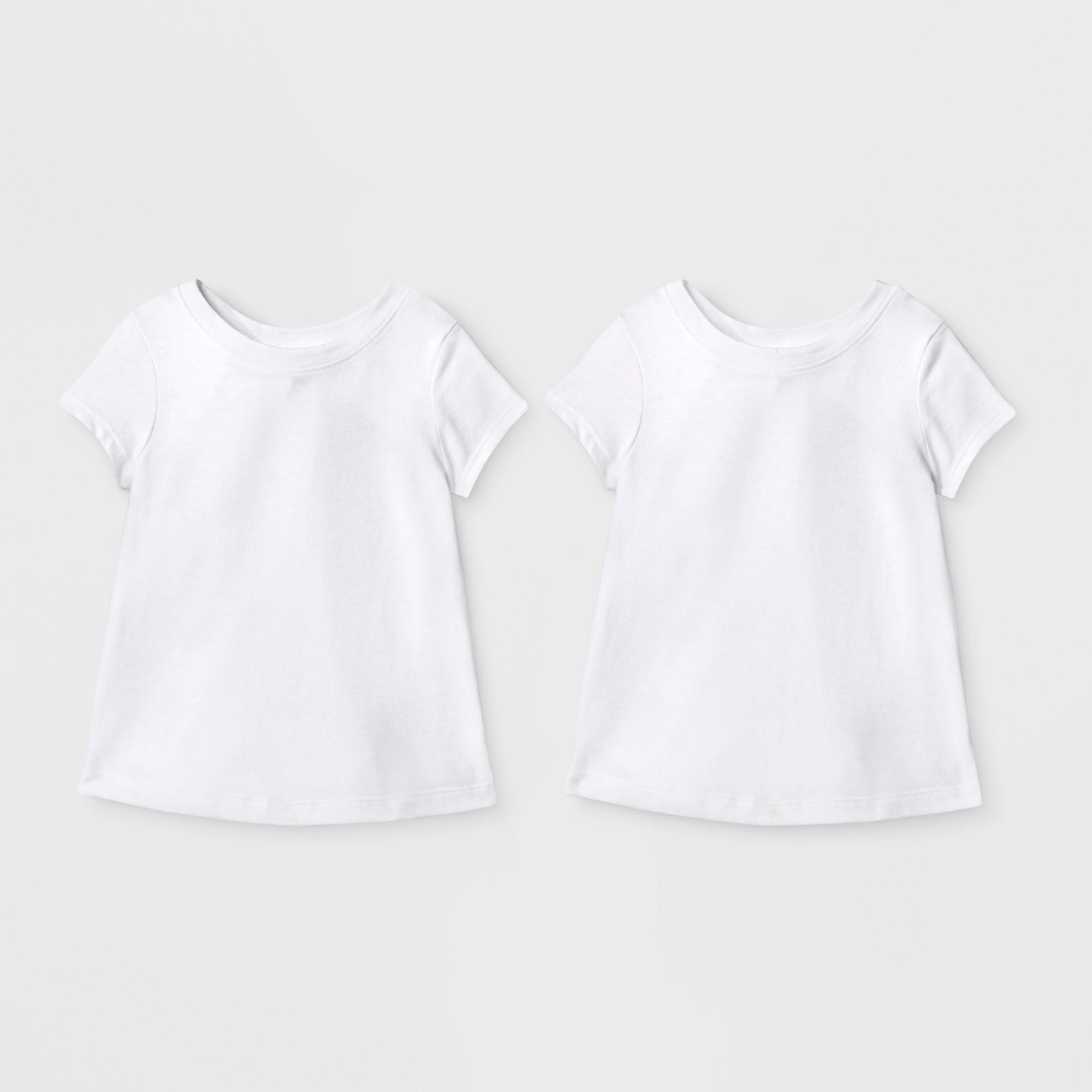 Toddler Girls' 2pk Short Sleeve T-Shirt - Cat & Jack White 5T