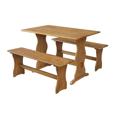 Jonathan Trestle Table With Two Benches Pecan   International Concepts :  Target