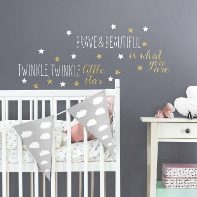 RoomMates Wall Decal Twinkle Twinkle Little Star with Glitter