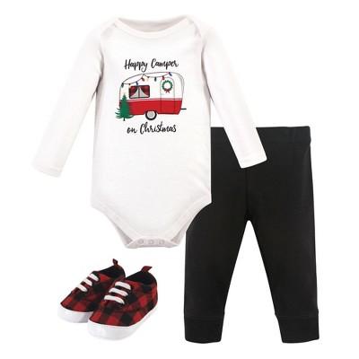 Hudson Baby Infant Boy Cotton Bodysuit, Pant and Shoe 3pc Set, Christmas Camper
