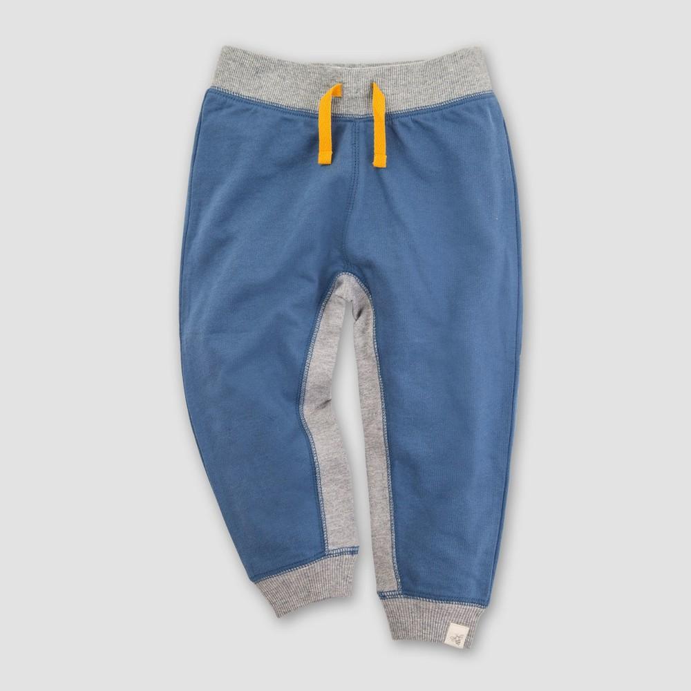 Burt's Bees Baby Boys' Organic Cotton French Terry Contrast Gusset Jogger - Blue 6-9M, Blue Gray