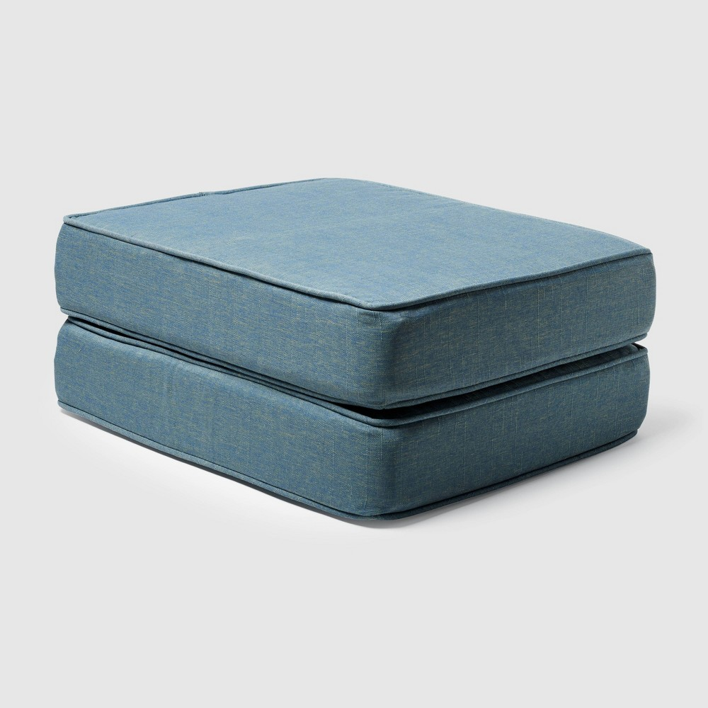 Image of 2pk Rolston Outdoor Ottoman Replacement Cushions Niagara Blue - Grand Basket