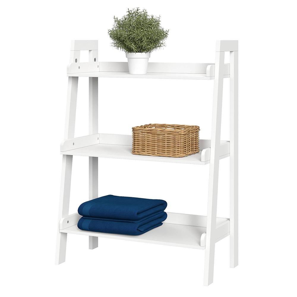 Image of 3 Tiers Ladder Bathroom Shelf White