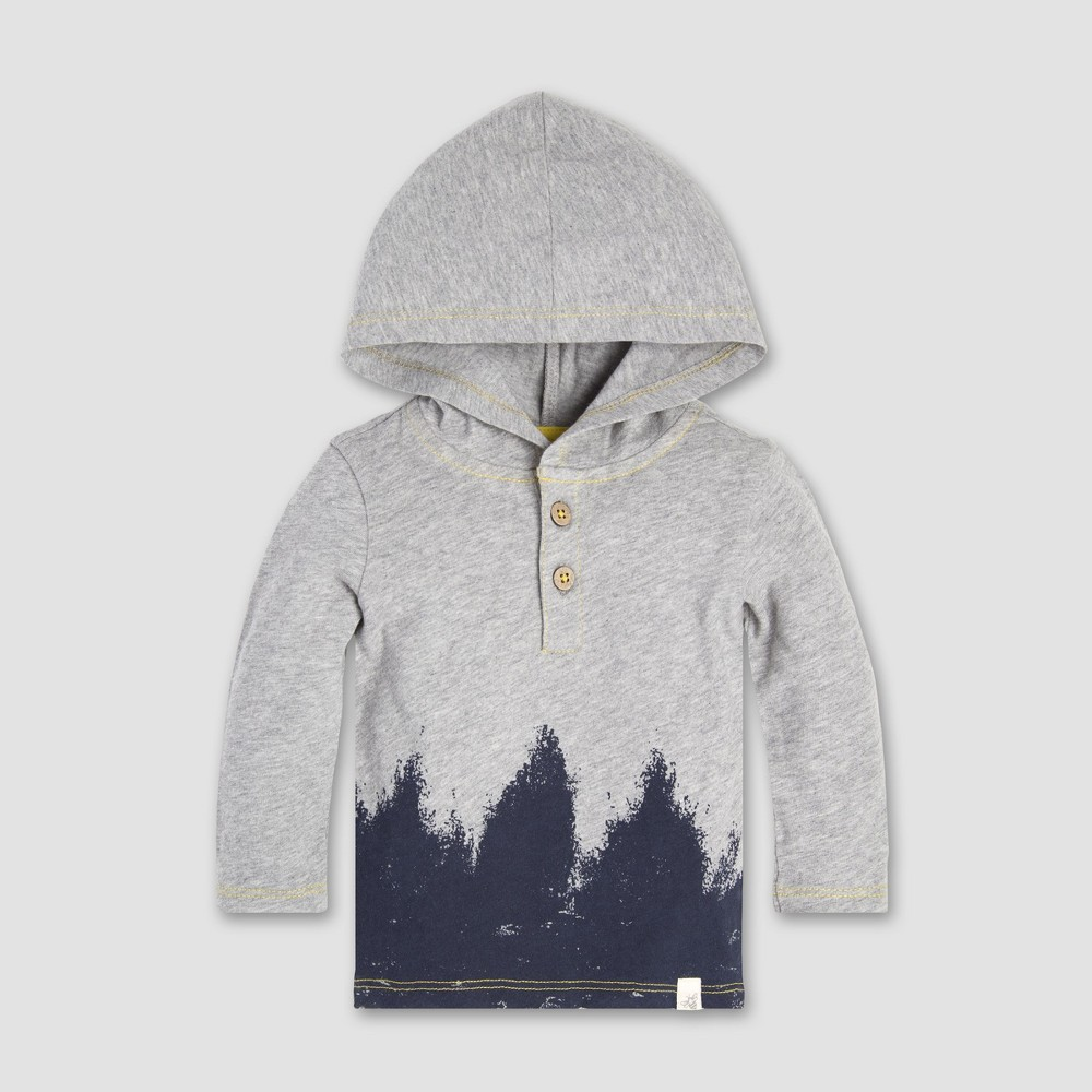 Burt's Bees Baby Baby Boys' Forest Shadows Hooded T-Shirt - Heather Gray 0-3M