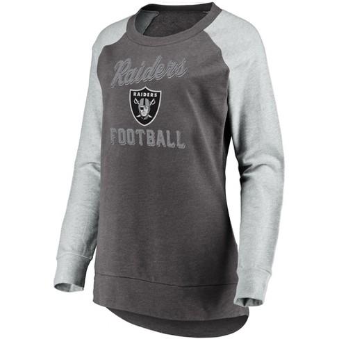 56ccf89e Oakland Raiders Women's Brushed Tunic/ Gray Crew Neck Fleece Sweatshirt S